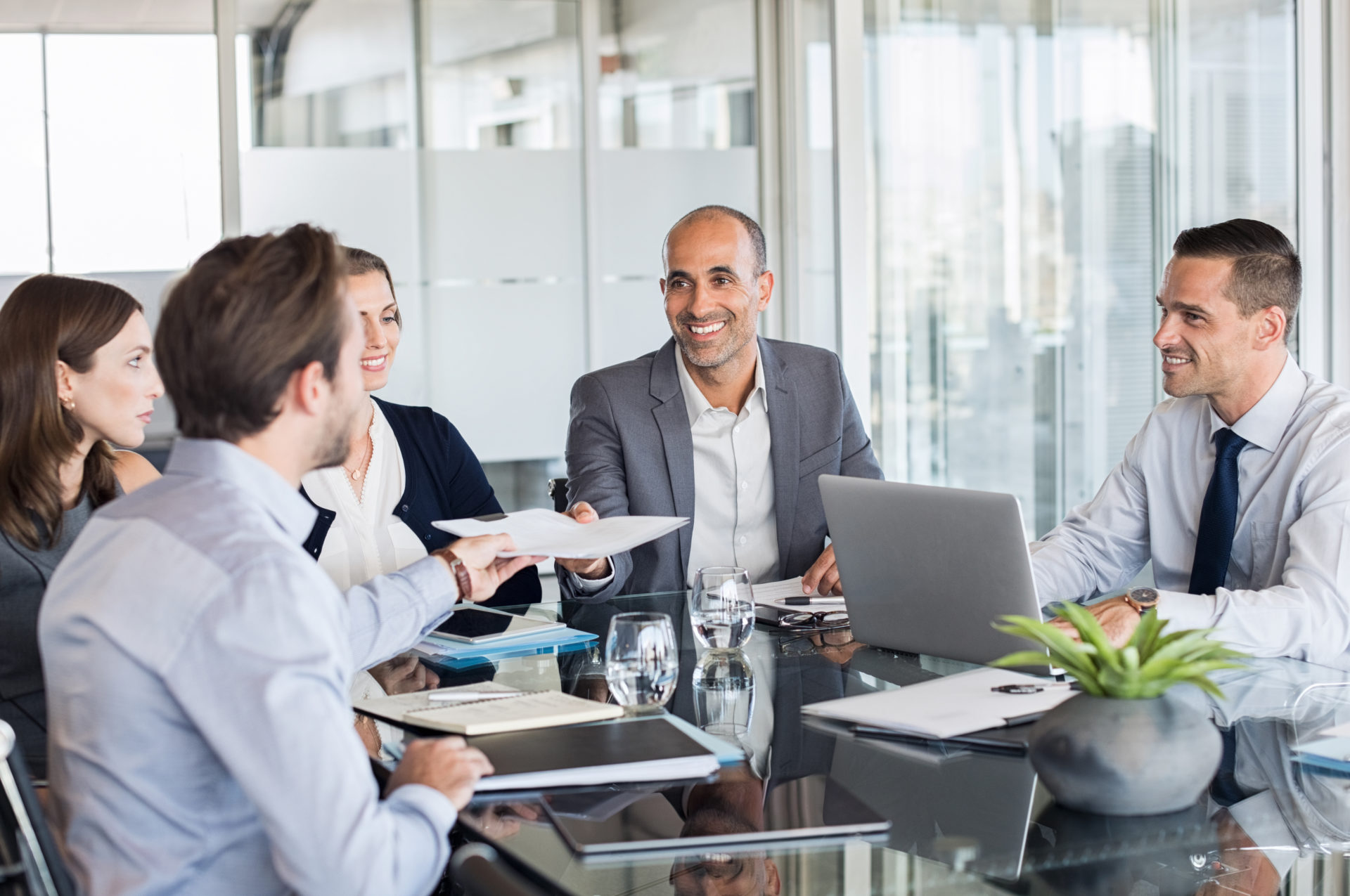 business people at an implementation meeting